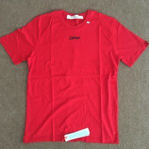 Off-White Red Printed Logo T-shirt Men Cool